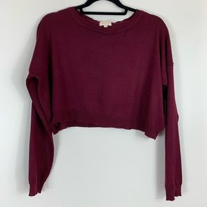 Ambiance Cropped Sweater in Wine